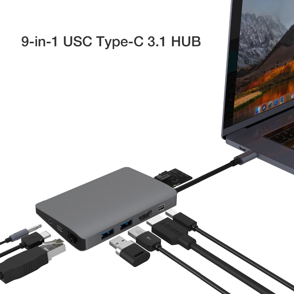 JZYuan USB C Hub à Mini DP HDMI RJ45 LAN Audio 3.5mm Avec PD USB 3.0 Lecteur de Carte Hub USB-C Dock Pour Macbook Pro Samsung S9/S8
