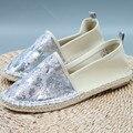 Las mujeres de Los Holgazanes Pisos Glitter Zapatos de Verano Casual Dedo Del Pie Redondo Slip-On de Lino Plana Zapatos Cómodos Suaves Zapatos de Las Mujeres Más tamaño 37-42