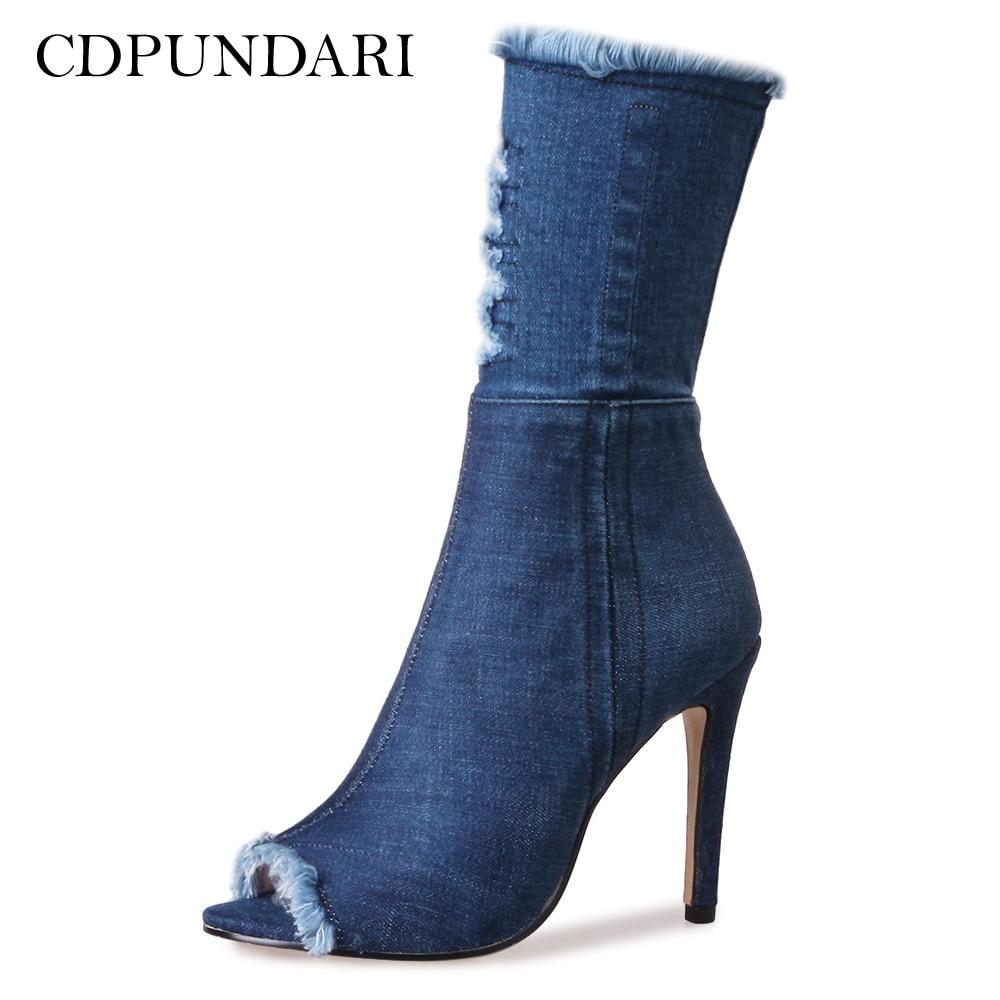 Peep Cdpundari Toe Mujer Scarpe Zapatos Fringe Tacco Alto Blu Botas Femme Stivaletti Le Botte Donne Donna Estivi Stivali Per SrdBr
