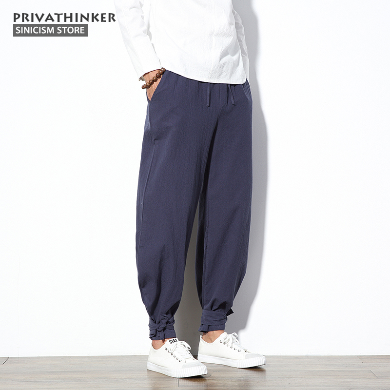 e27e1ba1355 Sinicism Store 5XL Cotton Linen Harem Pants Men Jogger Pants Male Trousers  Chinese Traditional Cloths Belts Plus Size