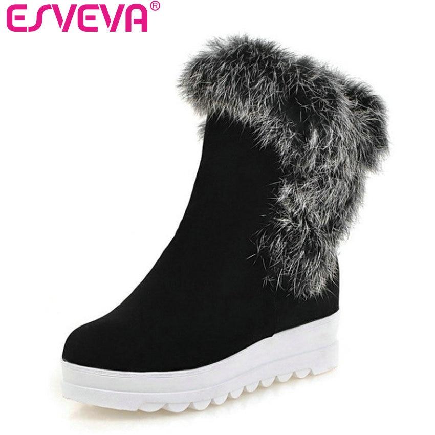 ESVEVA 2017 Fashion Warm Fur Winter Shoes Women Flock Snow Boots Wedges Med Heel Ankle Boots