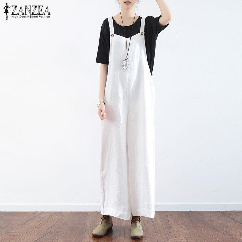 Plus Size ZANZEA Women Jumpsuits Summer Strappy Sleeveless Loose Casual Cotton Linen Overalls Rompers Solid Wide Leg Dungarees
