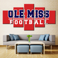 5 Panel Ole Miss Rabels Sports Team Fans Oil Painting On Canvas Modern Home Pictures Prints