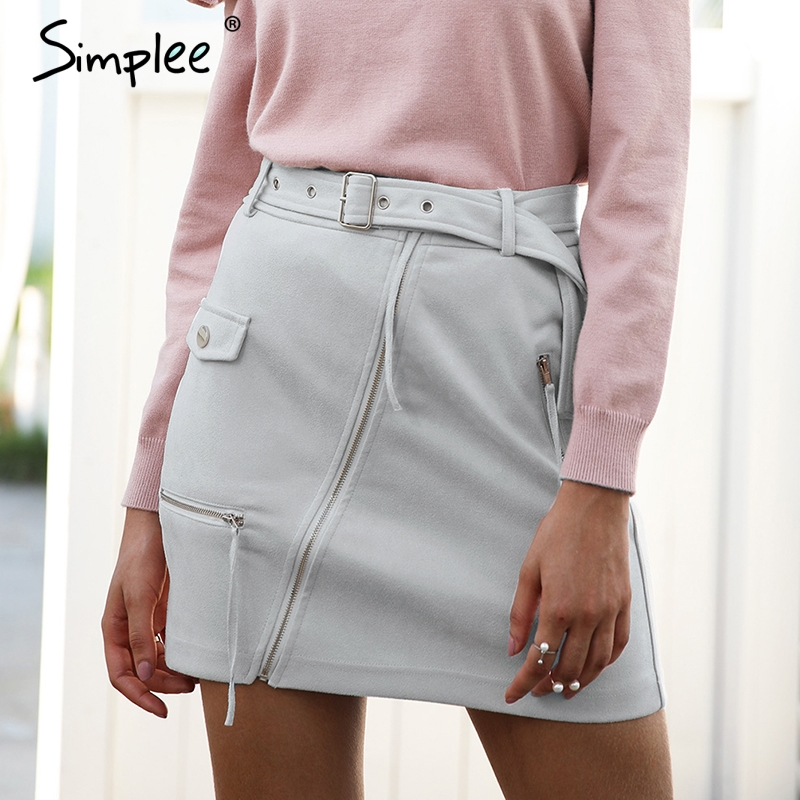 Simplee Suede Zipper Mini Skirt Women Streetwear Motorcycle Belt Pencil Skirt Fashion Elegant Winter Short Skirt Female 2018