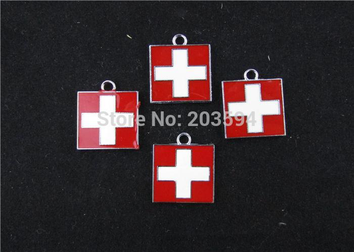 AE208 20pcs Mixed Enamel Red Cross Charms Pendants Pet Charm for Necklace Charm 24x20.5mm