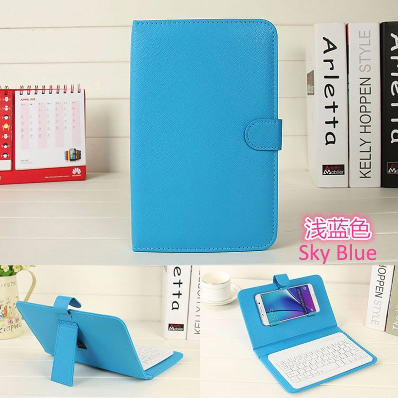 multi Colors Universal Wireless Bluetooth Keyboard PU Leather Mobile Phone Case holder For APPLE IPad iPhone 7 6 6S
