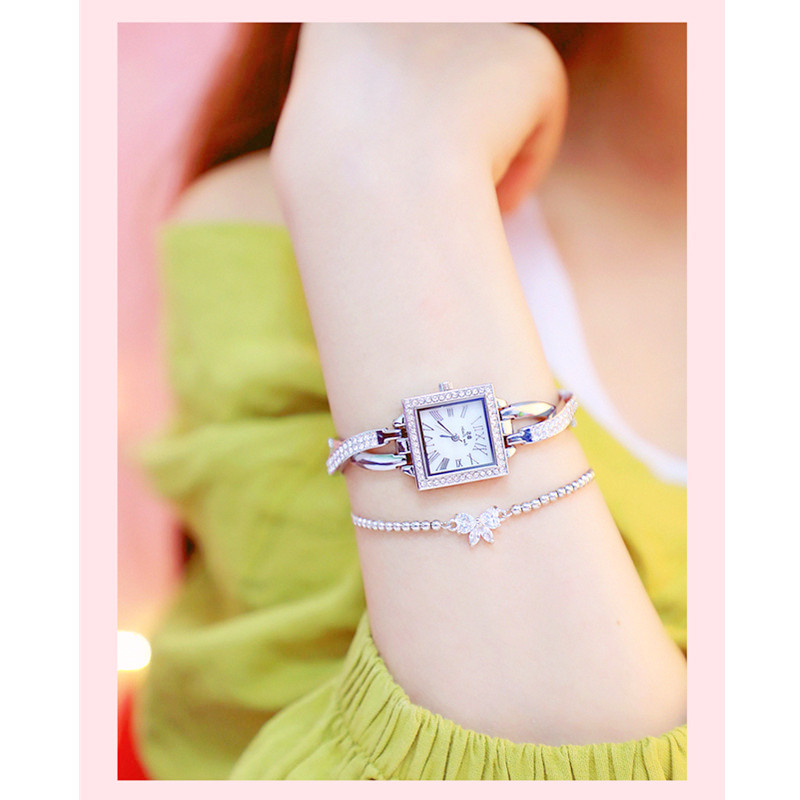Fashion Ladies Quartz Watch High end Custom Cross Small Chain Watch No Digital Square Dial Full Rhinestone Female Watch in Women 39 s Watches from Watches
