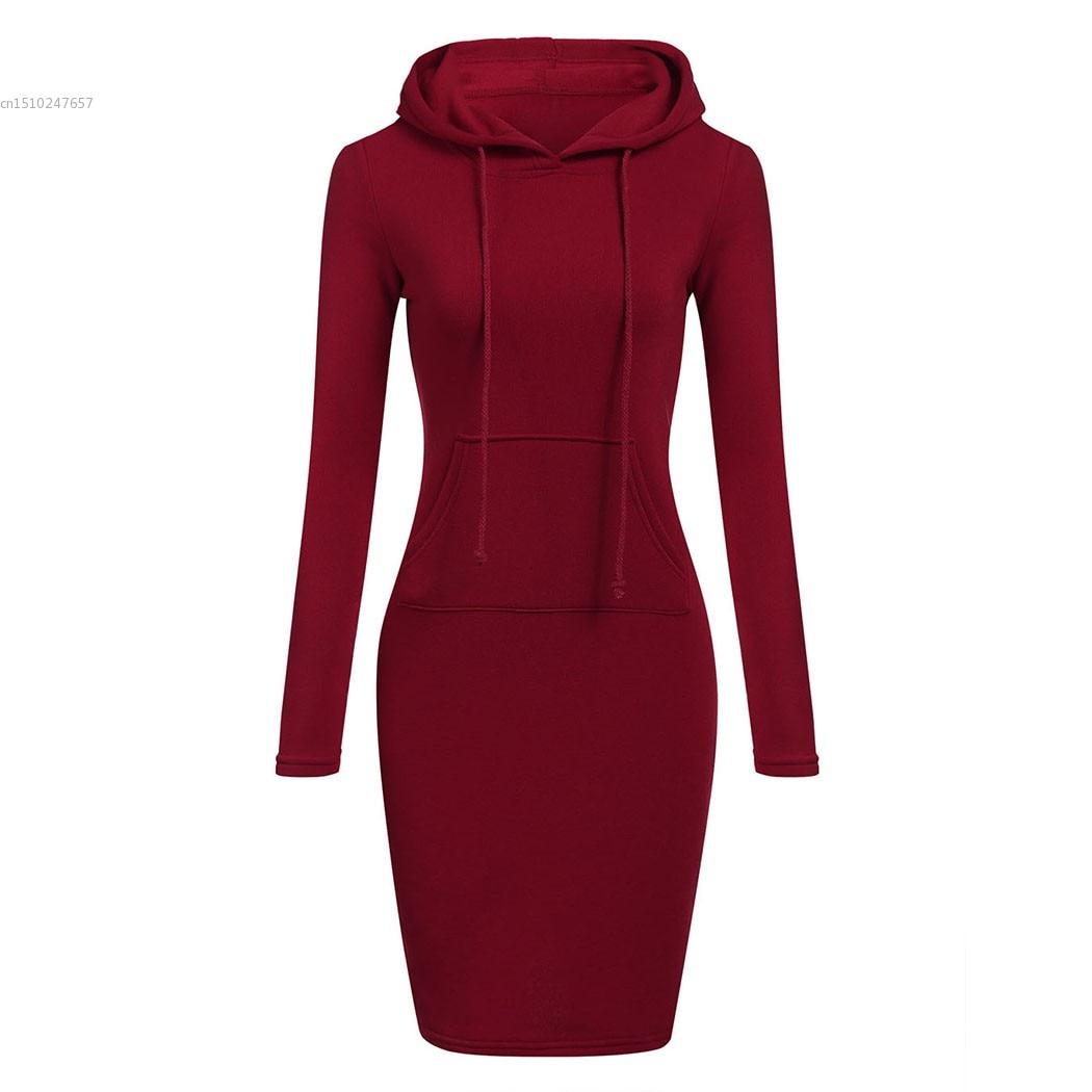 e8582d81dfd 2018 Autumn Winter Warm Hoodies dress Women Fashion Slim Hooded Long Sleeve  Solid Pencil Hoodie Dress bodycon pencil Dress