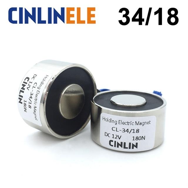 CL-P 34/18 18KG/180N Holding Electric Magnet Lifting Solenoid Sucker Electromagnet DC 6V 12V 24V Non-standard custom