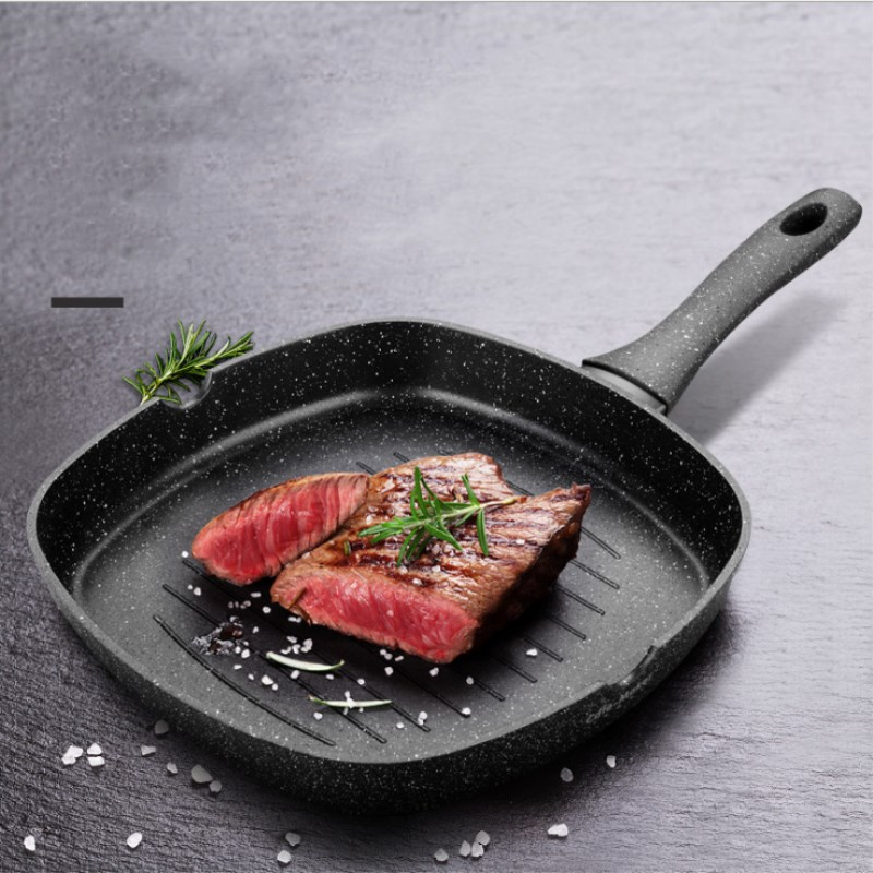 28cm Steak Fry Pan Japanese Style Square Frying Pot Steak Special Striped Non-stick Frying Pan Kitchen Supplies