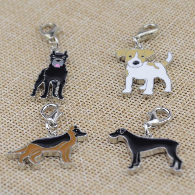 2123c5a92aea 30 pcs/lot Puppy Neck Pendant Key Rings Pet Dog Tag Enamel Collar Keychain  Necklace Disk pet jewelry dog tag