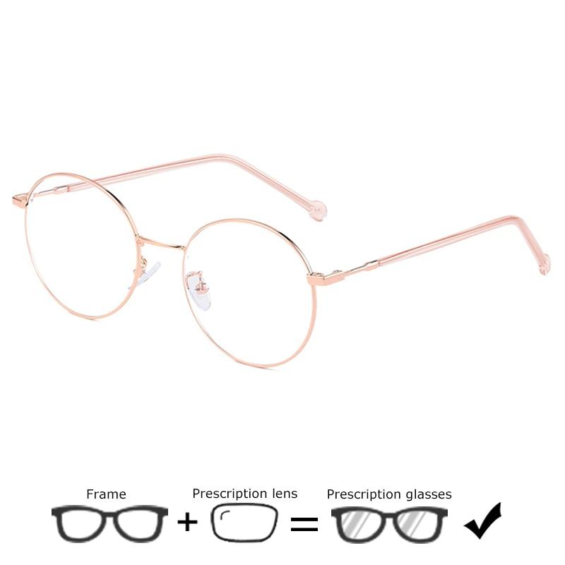 Neue Ultraleicht Legierung Brillen Männer Gold Runde Computer Lesen Klar Myopie Rezept Mode Optische Brillen Für Frauen