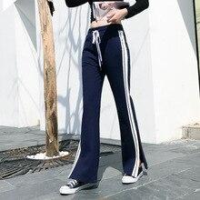 c6f7cc653f Nuevo suelta pantalones de pierna ancha de cintura alta dividir Pantalones  de bolsillos de Palazzo Pantalones