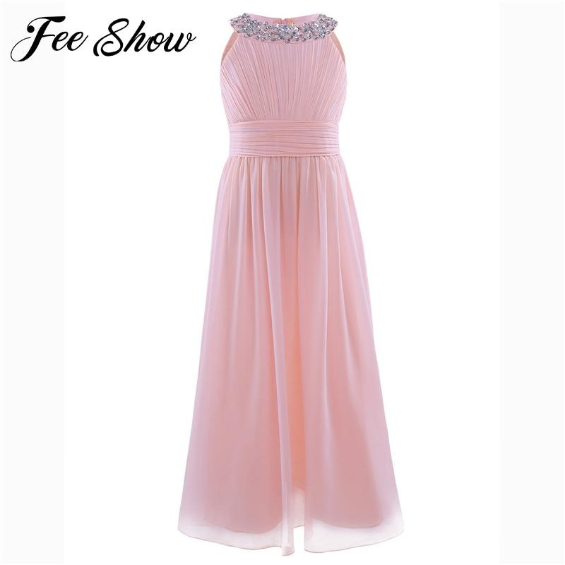 Teen   Girls   Chiffon Sleeveless   Flower     Girl     Dress   Princess   dress   Pageant Wedding Bridesmaid Birthday Party Summer   Dresses     girl