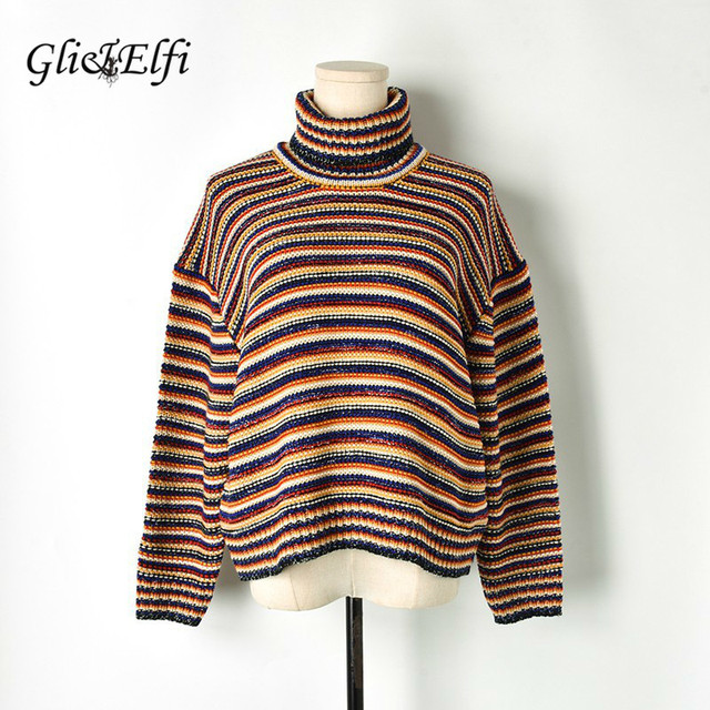b2a0cbc88f60e3 Women Fancy Sweater Multicolor Striped Jacquard 2019 Spring Winter Casual  Vintage Lady Turtleneck Thick Knit Top Jumper Pullover