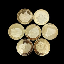 New World Seven Wonders Gold-plated Commemorative Badge China Great Wall Commemorative Coin Travel Collection Coin стоимость
