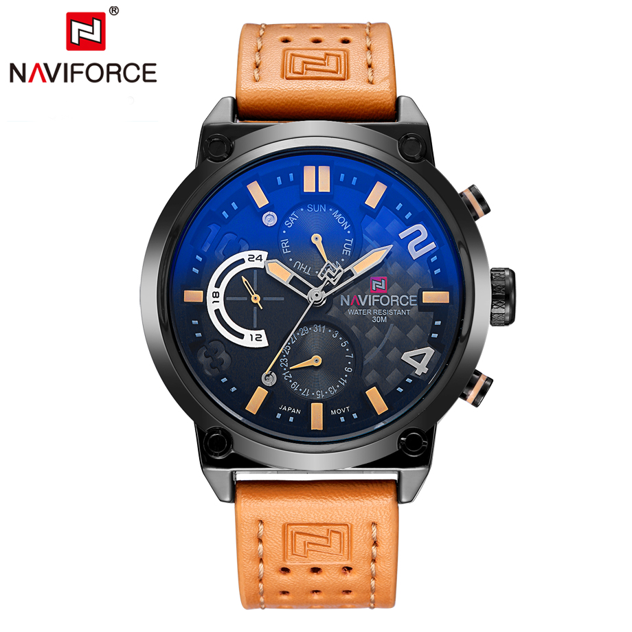 NAVIFORCE Fashion Luxury Quartz Watches Men Functional Hands Leather 24 Hour Date Wristwatch Male Clock Chronograph Sport Watch genuine jedir quartz male watches genuine leather watches racing men students game run chronograph watch male glow hands