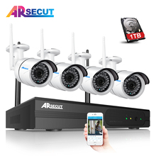 ARSECUT 4CH Wireless NVR CCTV System 960P HD WIFI Outdoor IR Night Vision Home Security Camera