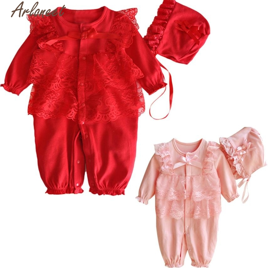 Christmas Pajamas Dress For Baby Girls Newborn Infant Baby Kids Girls Cap Hat+Lace Romper Jumpsuit Clothing Set Outfit Y1014 &
