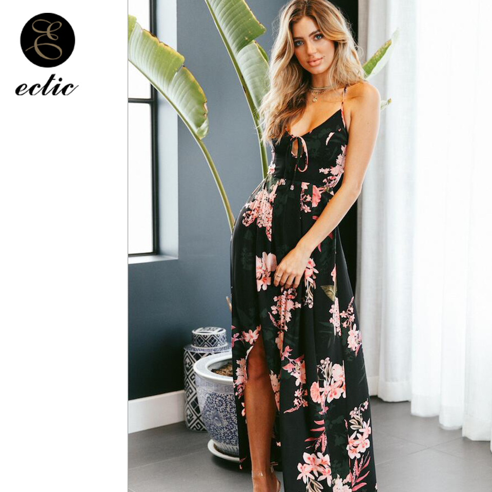 Boho Chic Style Sukienka Elegant Sleeveless Backless Maxi Dress Women Robe  Ete 2018 Bandage Dress Side Slit Floral Sundress Stun-in Dresses from  Women s ... adf759d44d04