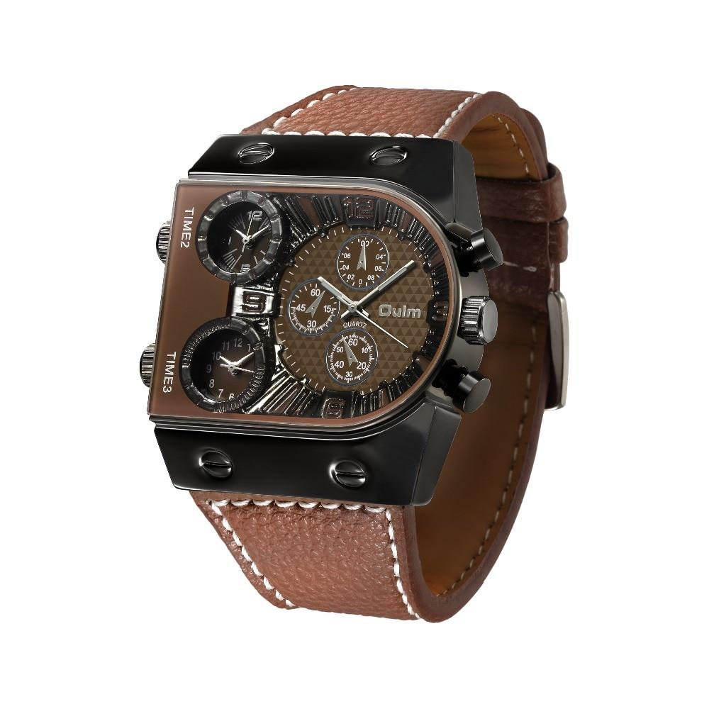 OULM Sport Watch Men Quartz Analog Clock 3 Time Zone Sub-dials Design Big case Oversize Fashion Black Wrist Watches relogio 22