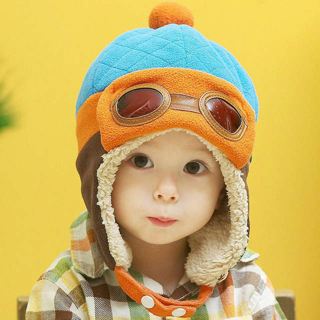 6796d2bd610 Online Shop Infant Warm Plush Cloth Cap Hat Beanie Cool Baby Boy Girl Winter  Pilot Bear Caps Cute Kids Handsome Aviator Toddler Hats