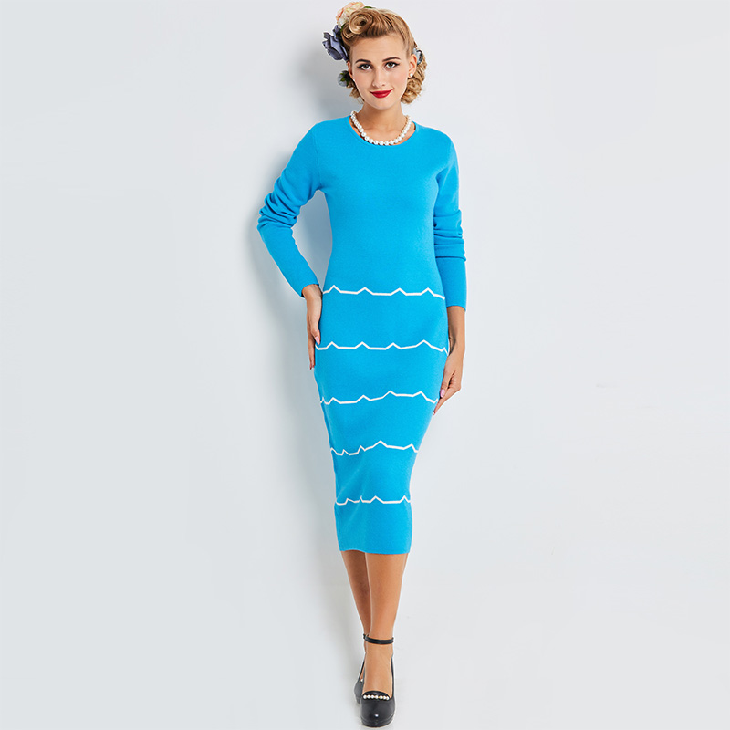 Sisjuly Casual Autumn Women Blue Patchwork Bodycon Dress Pullover Mid Calf Straight Party Dress O Neck