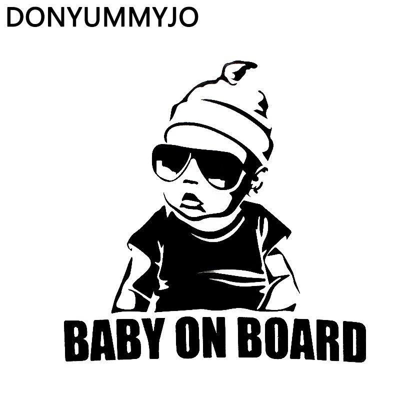 Donyummyjo 15.5*15.2 см ребенок на борту творчески автомобиль Стикеры хвост Предупреждение знак наклейка черный/Серебряный rw-010