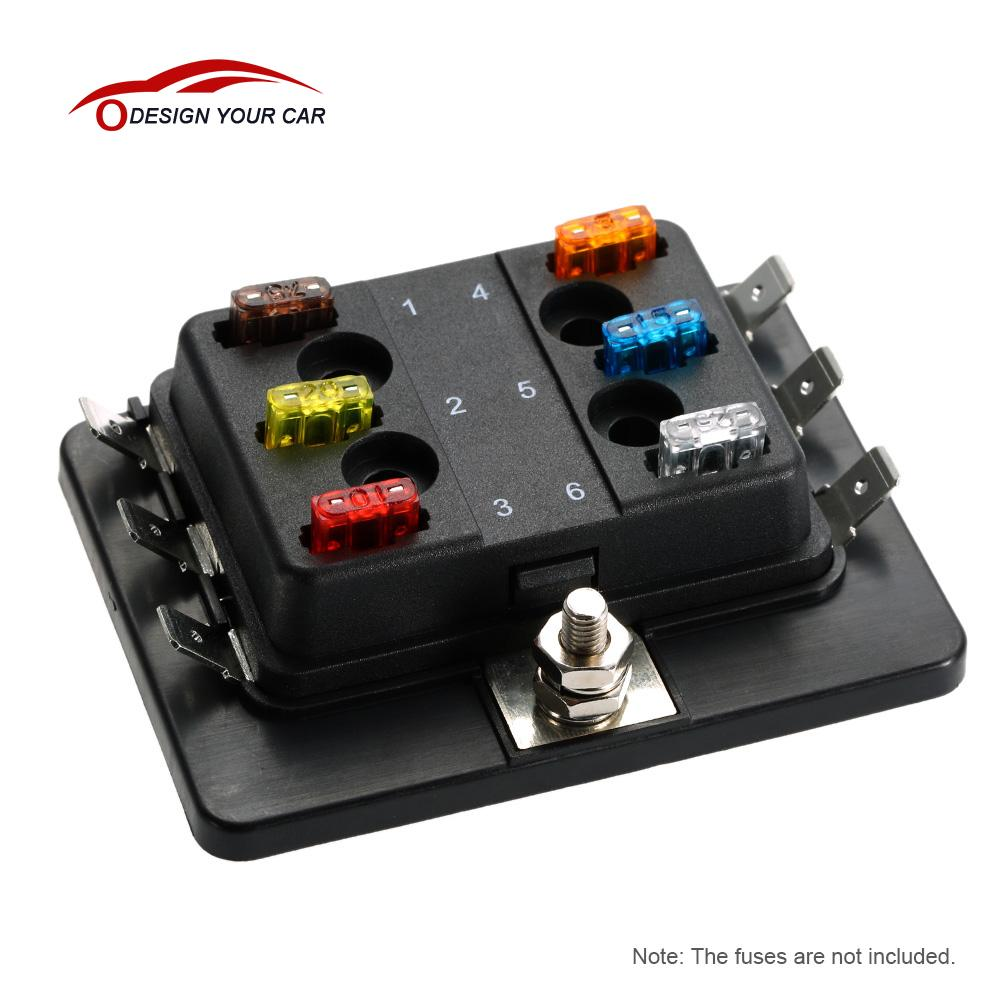 Universal 12v 24v 6 Way Fuse Box Block Holder Car Vehicle On Mini Blade Apm Atm 5a 10a 25a For Boat Marine