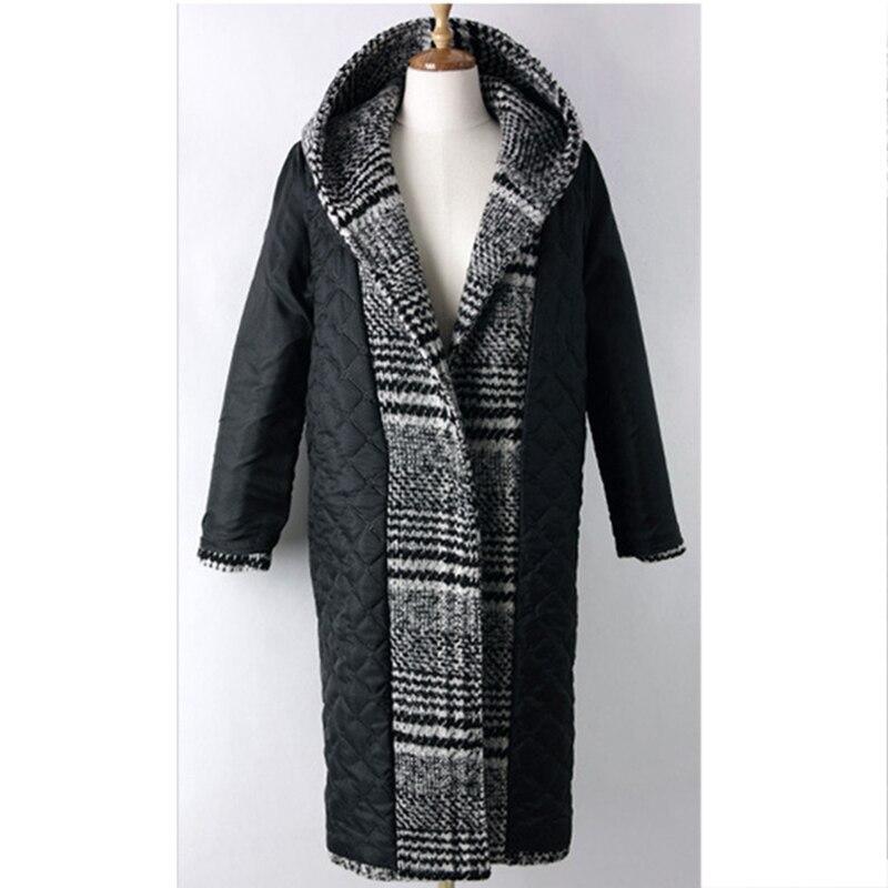 Épais Noir Automne Nouvelle À Plaid Mode Manteau Couvert Pleine Femmes Laine Hiver Fille Capuche Chaud Longue Poches Veste Manches Bouton Ym785 BrqPBR