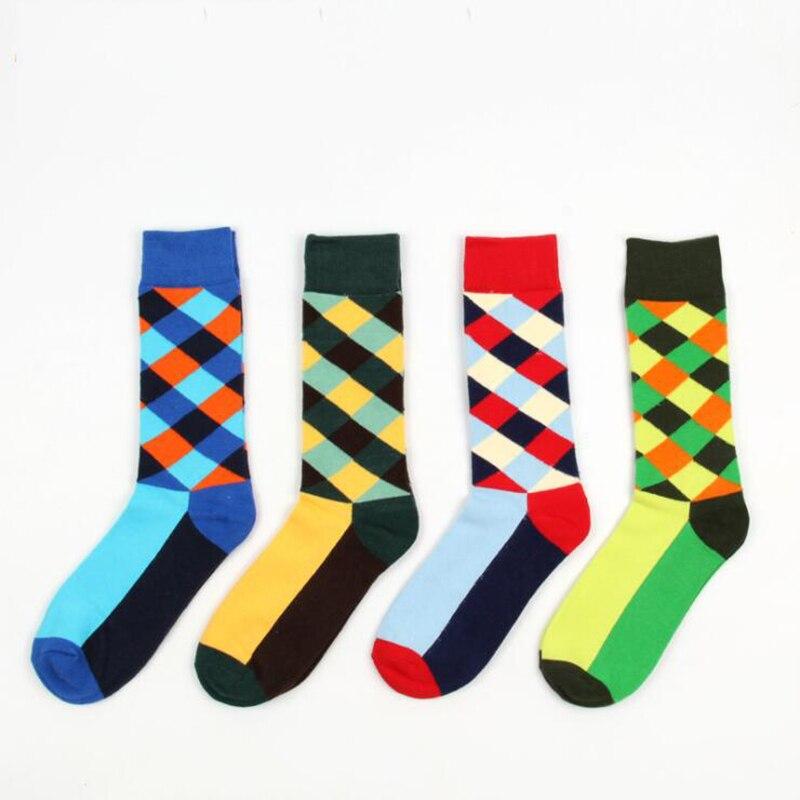 New Stylish Geometric Pattern Happy Socks Womens Mens Cotton Happy Socks Funny Long Socks