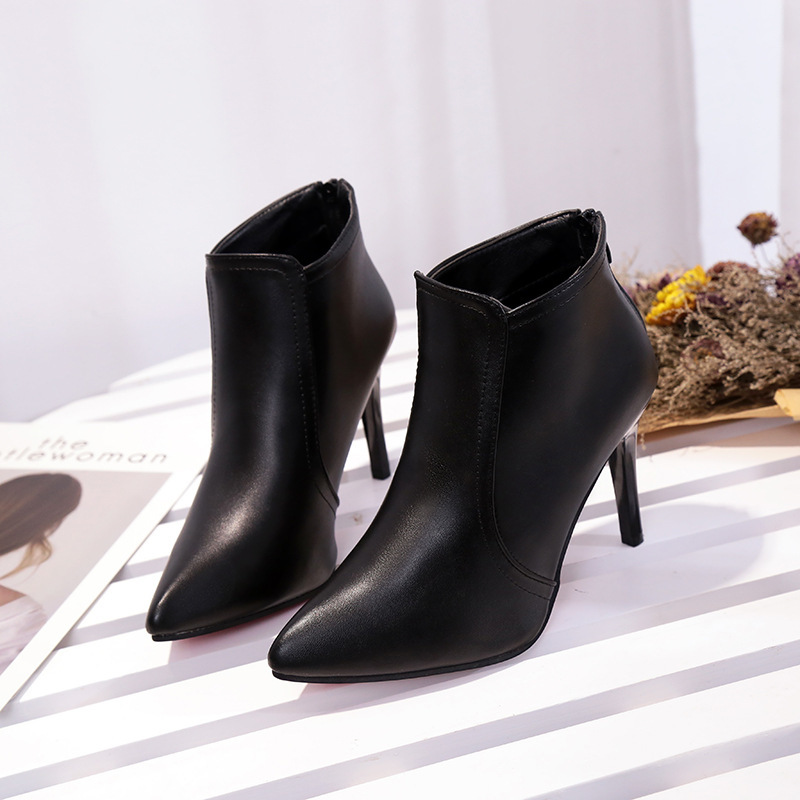 Pointed Toe Sexy Zipper High Heel Ankle Pumps Stiletto Booto Women High winter Boots ladies Shoes botas mujer in Ankle Boots from Shoes