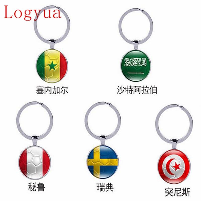 10 X New 2018 World Flags Football Car Keychain Keyring For Saudi Arabia Senegal Tunisia Sweden Peru Flag