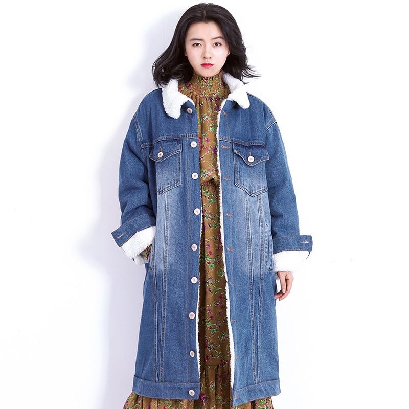 2017 New Thick Denim Winter Coat Women Fashion Lambswool Keep Warm Vintage Jaqueta Feminina Inverno Lapel Long Length Coat Mujer