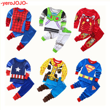 цены Boys Cotton Children 2pc Long Sleeve Pajamas Sets Kids Cotton Spiderman Pajama Boys Superhero Infantil Pijamas Boys Pajamas