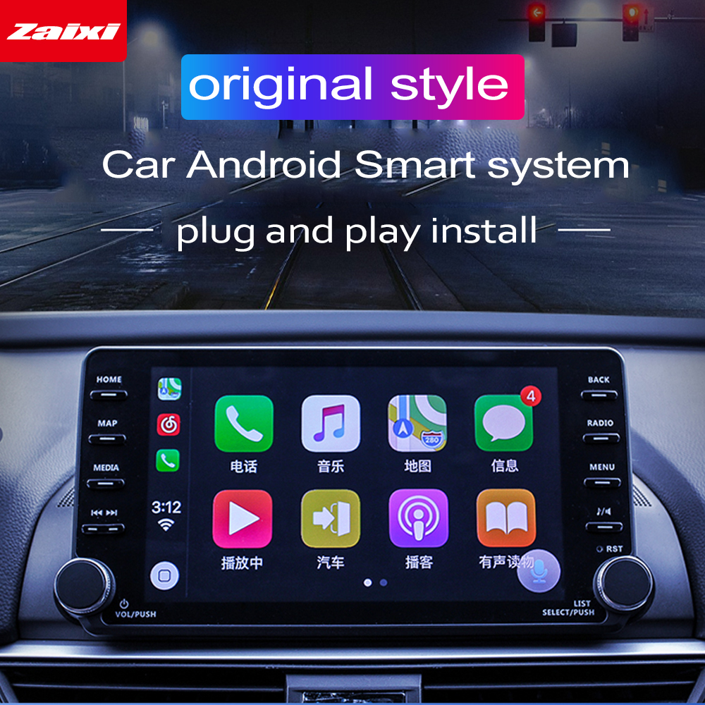 ZaiXi Android GPS For <font><b>Honda</b></font> <font><b>Accord</b></font> 2018 2019 2020 HD <font><b>Touch</b></font> <font><b>Screen</b></font> Multimedia Player radio Stereo navigation Map original style image