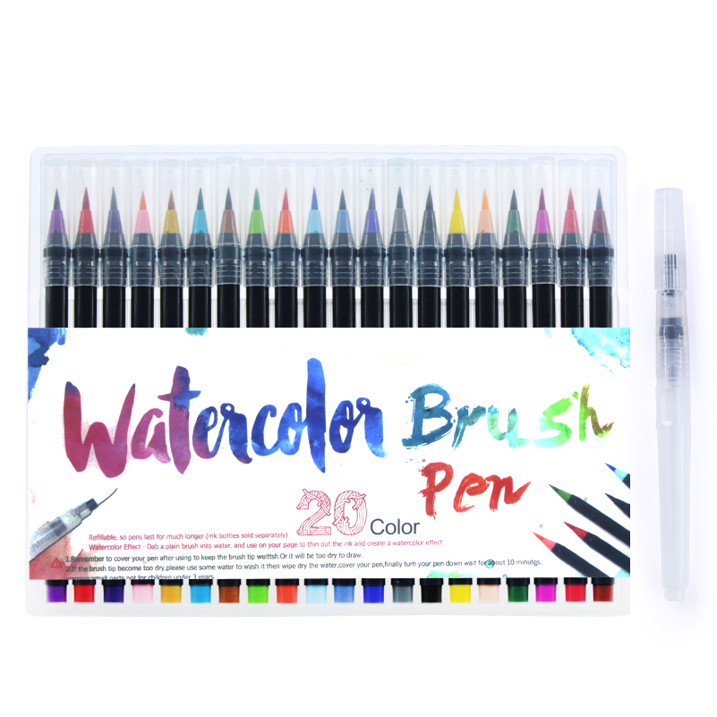 20 Color Painting Soft Brush Pen Watercolor Markers Pen For Coloring Books Calligraphy 20 color painting soft brush pen set watercolor markers pen effect best for coloring books student art painting supplies