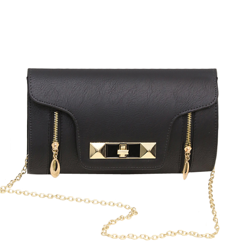 Women lock Messenger Bag Black PU Leather Day Clutch Vintage Envelope Evening Bags Chain Shoulder Handbag bolso Brown XA505H oulm 3548 authentic mens 5 5cm large dial watches leather band dual time japan movt quartz watch relogio masculino grande marca