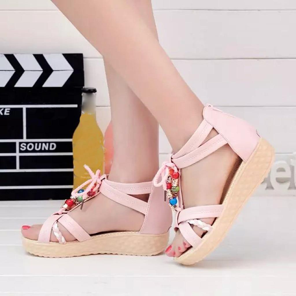 Summer Women's Shoes Footwear Beaded Beach Shoes Luxury Brand Bohemian Zipper Sandals Lady Non-Slip Ladies Sandal Footwear
