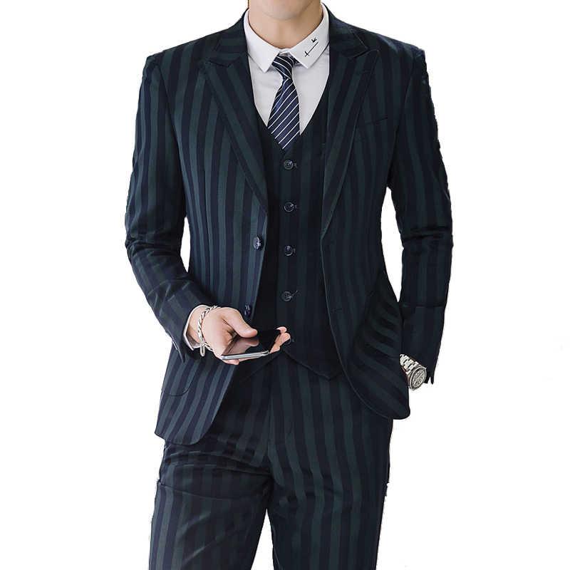 MOGU 2019 有名なブランドメンズスーツ結婚式新郎プラスアジアサイズ 5XL 3 個 (ジャケット + ベスト + パンツ) スリムフィットビジネスカジュアルスーツ男性