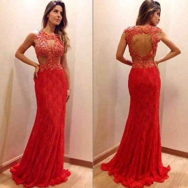 9e2900a959 2016 Sexy Red Lace Mermaid Prom Dresses Open Back Hollow Waist Beading Long Prom  Dress Floor