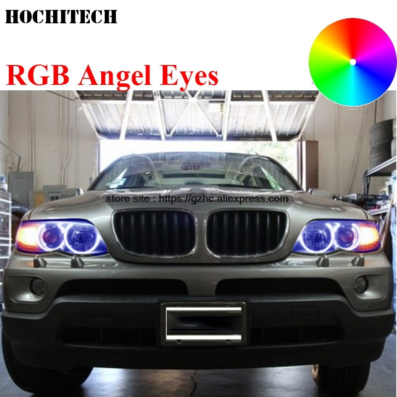 HochiTech For BMW E53 X5 2000-2003 car styling RGB LED Demon Angel Eyes Kit Halo Ring Day Light DRL with a remote control super bright led angel eyes for bmw x5 2000 to 2006 color shift headlight halo angel demon eyes rings kit