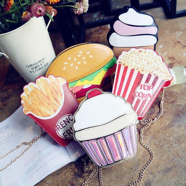 Creative סגנון אישה המבורגר גלידת כתף שקיות Cupcake PU שרשרות שקיות חמוד המבורגר פופקורן צ 'יפס 3D שליח שקיות