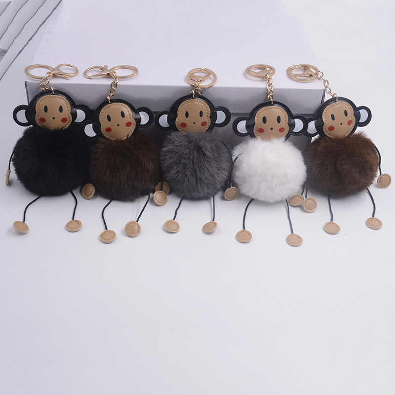 ... Opshineqo 2017 Cute Monkey Fake Rabbit Fur Ball Fluffy Key Chain Women  Bag Pompom Keychain Wholesale be26447894