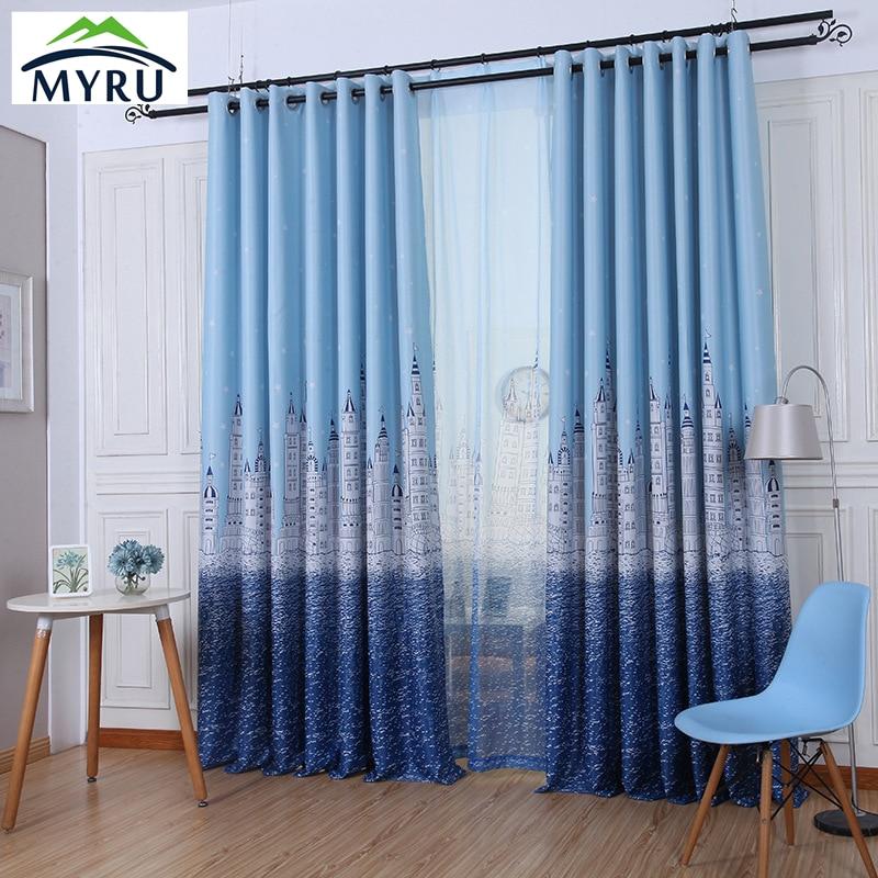 myru alta calidad cortinas opacas castillo de dibujos animados ventana cortinas cortinas azules para