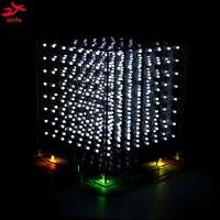 New White 3D 8S 8x8x8 Mini Led Electronic Light Cubeeds Diy Kit For Christmas Gift
