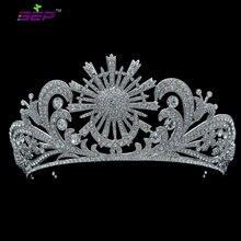 Бесплатная Доставка Свадебный Цветок цветок Крона тиары Ободки Свадебные Аксессуары и Украшения Ясно Rhinestone Sh8583