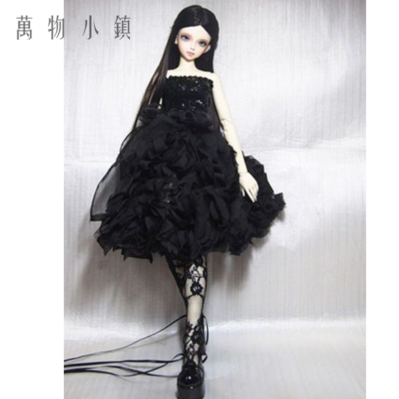 New Black Lace Evening Dress With Sequins for BJD Girl 1/3 1/4 MSD Doll Clothes new bjd doll jeans lace dress for bjd doll 1 6yosd 1 4 msd 1 3 sd10 sd13 sd16 ip eid luts dod sd doll clothes cwb21