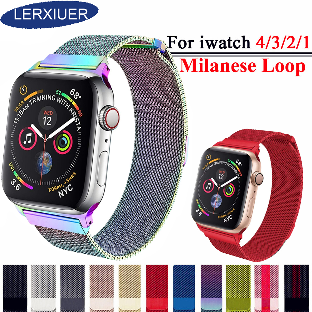 Milanese Loop band For Apple Watch 4 3 42mm 44mm Iwatch band 38mm 40mm Pulseira link Bracelet metal Strap wrist Mesh WatchbandMilanese Loop band For Apple Watch 4 3 42mm 44mm Iwatch band 38mm 40mm Pulseira link Bracelet metal Strap wrist Mesh Watchband