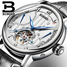 Фотография Genuine Swiss BINGER Brand men automatic mechanical self-wind sapphire watches calendar waterproof leather strap High grade